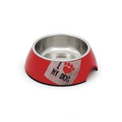 Plato Melamina para Perros I Love Rojo (1)