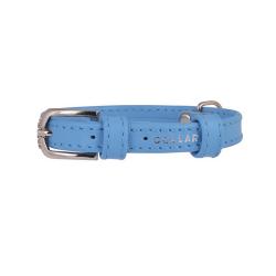 Collar Glamour en Piel Azul para Perro