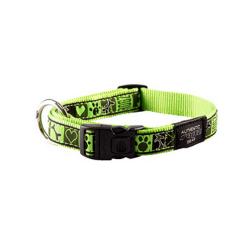 Collar Nylon con Tela Estampada Color Verde Lima para Perro (1)