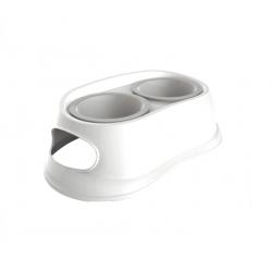 Comedero Doble Plástico Blanco para Perro (1)