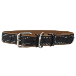 Collar Cuero Soft Exterior Negro para Perro