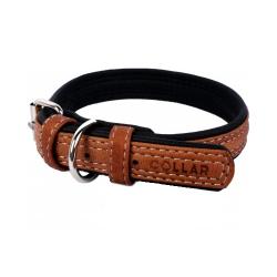 Collar Cuero Soft Exterior Marrón para Perro