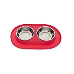 Comedero Doble con Base de Silicona Color Rojo para Perro (1)