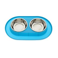 Comedero Doble con Base de Silicona Color Azul para Perro (6)